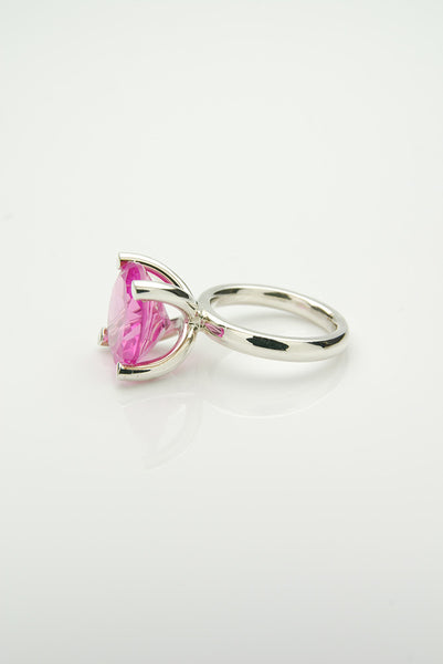 Orr silver ring with a pink ruby