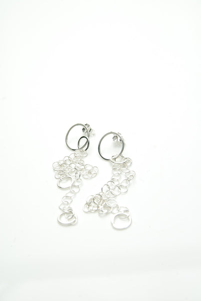 Hlekkir Long Silver Earrings