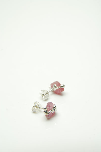 Raw Ruby Silver Earrings