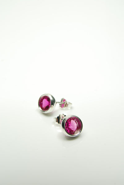 Laus Dark Pink Ruby Earrings