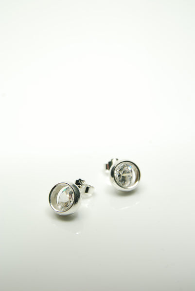 Laus White Silver Earrings