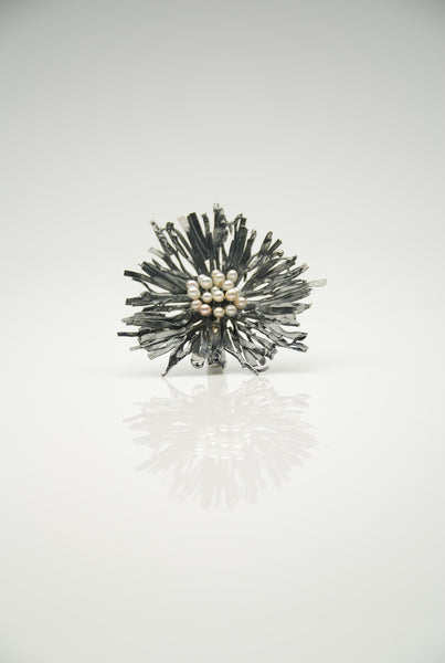 Oxidized Pearl Ring by Orr