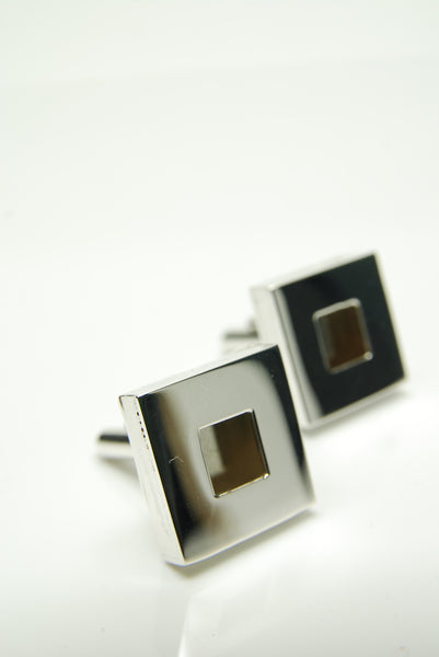 Square Dimension Silver Cufflinks