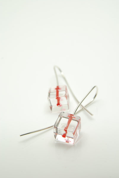 Red Kernel Quartz Earrings