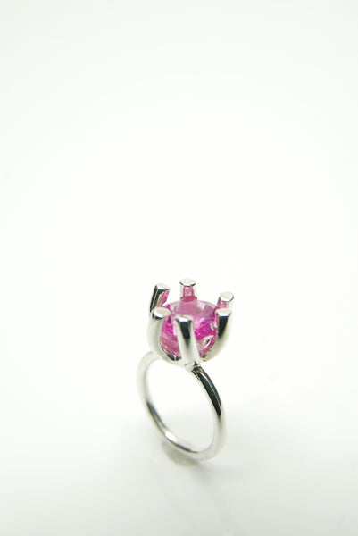 Pink Jewel Silver Ring