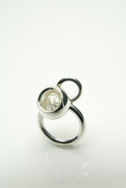 White Shackle Silver Ring