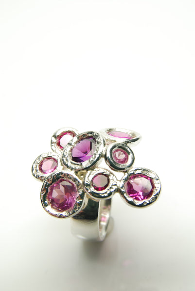Sea of Pink Rubies Silver Ring