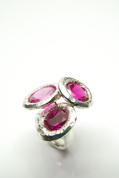 Bouquet of Rubies Silver Ring