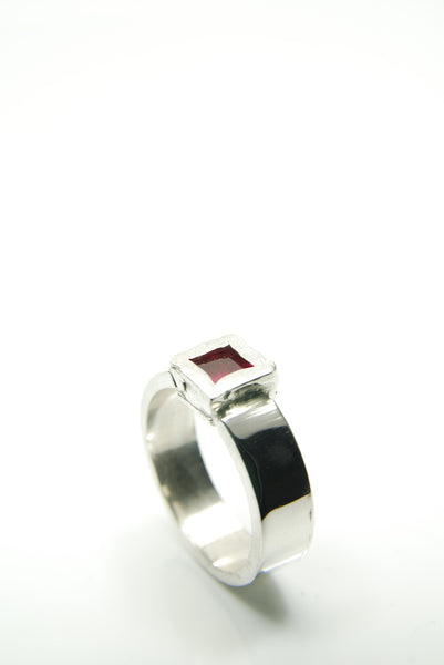 Men's Silver & Ruby Ring