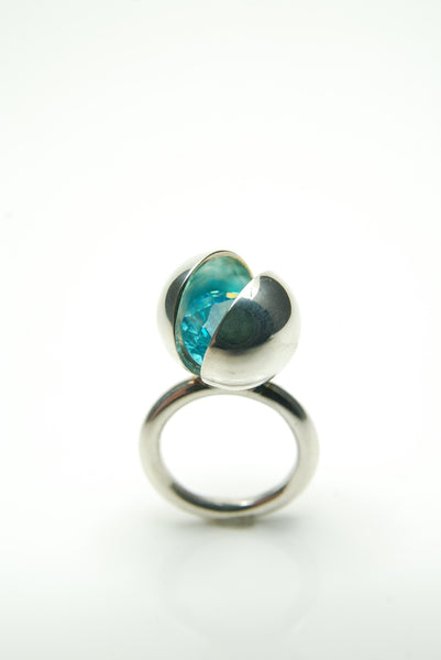 Bright Blue Silver Ball Ring