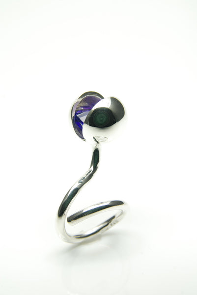 Purple Silver Ball Ring