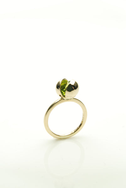 Gold Globe Ring with Green Peridot