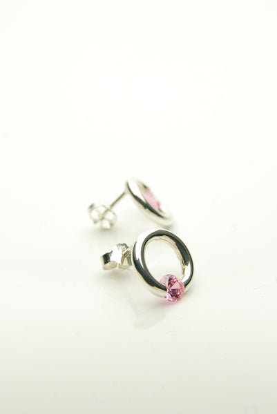 Pink Fell Silver Earrings