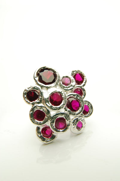 Red Rubies Silver Ring