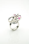 Handmade silver ring with pink rubies and white zirconia