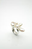 Orr handmade silver ring with a cluster of organic pearls on top