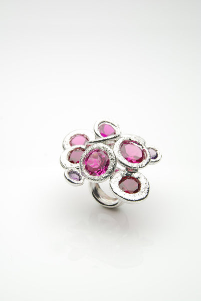 Pink Rubies Silver Ring