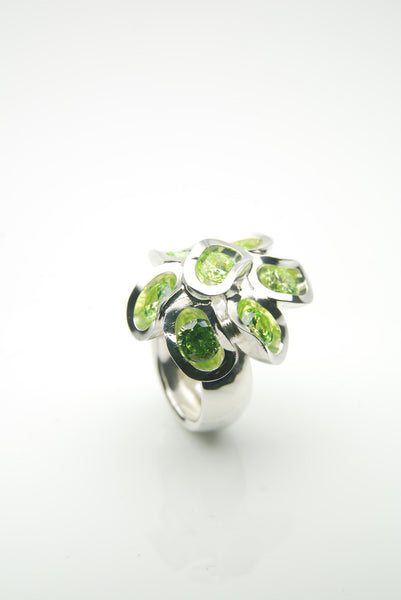 Ringul Apple Green Silver Ring