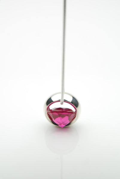 Laus silver pendant with pink ruby
