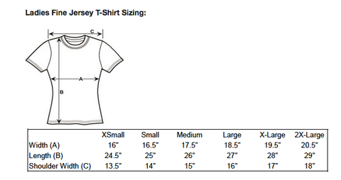 Atomic Swag Ladies T-shirt Sizing Chart