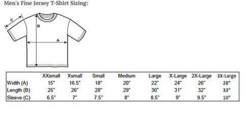 Atomic Swag Men's T-shirt Sizing Chart