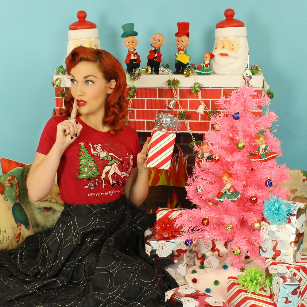 Naughty List Vintage Cherry Red T-shirt