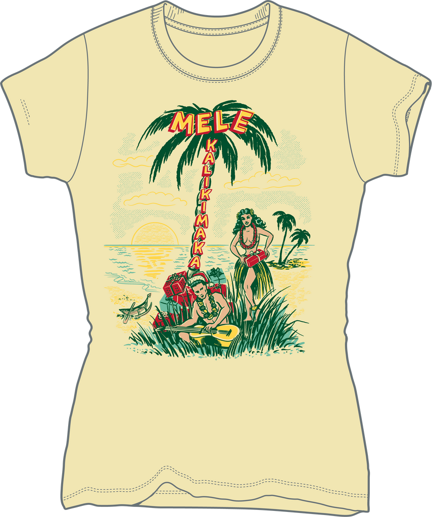 Mele Kalikimaka! Hawaiian retro Christmas tee with hula girl and Hawaiian boy under palm tree with Christmas presents.