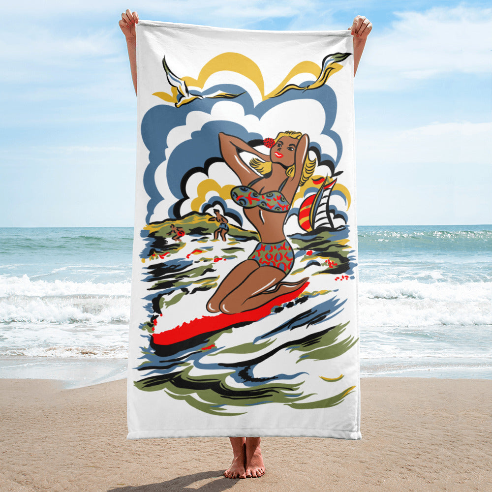 1950s Vintage Reproduction Beach Towel Bikini Girl by Atomic Swag