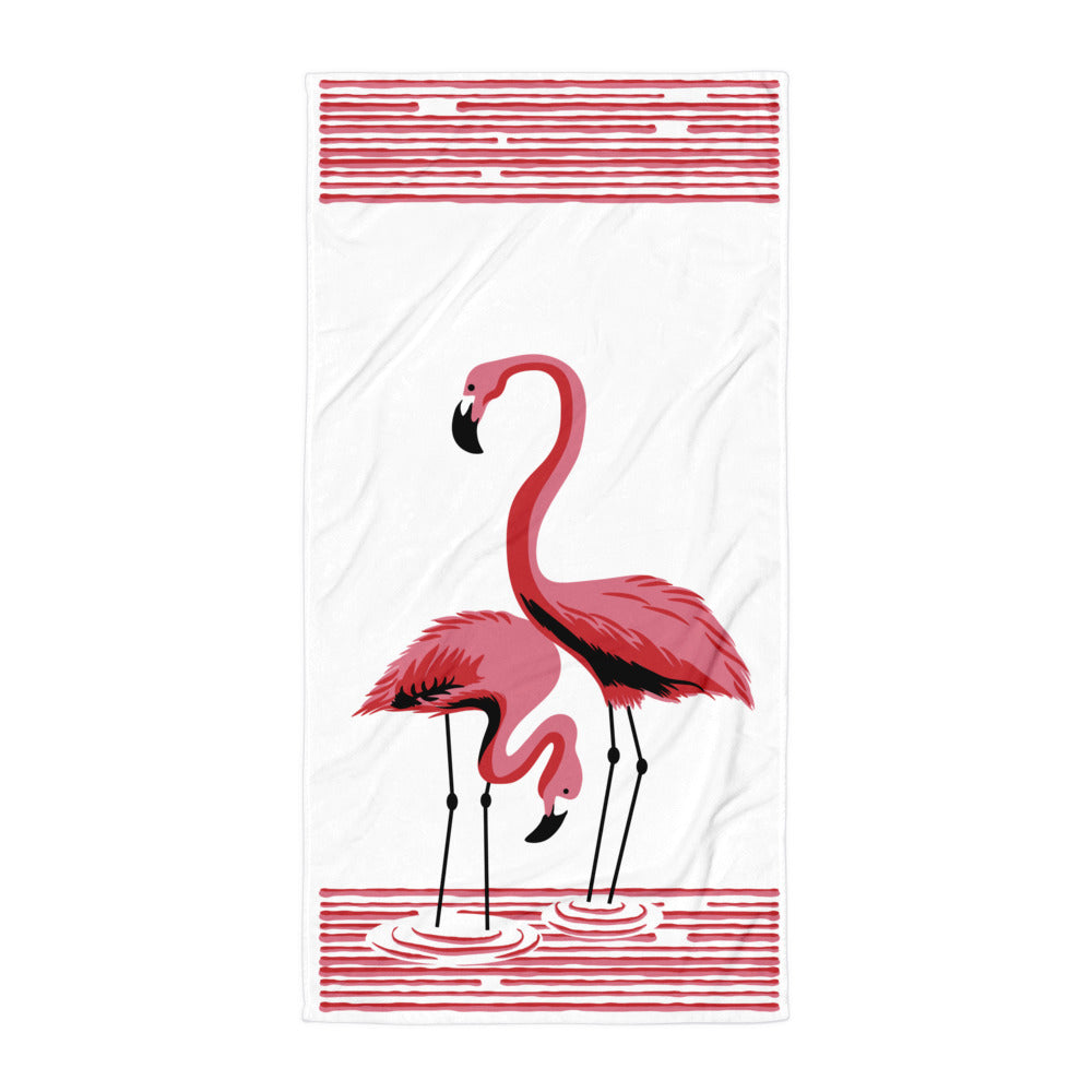 1950s Vintage Reproduction Beach Towel Pink Flamingos by Atomic Swag
