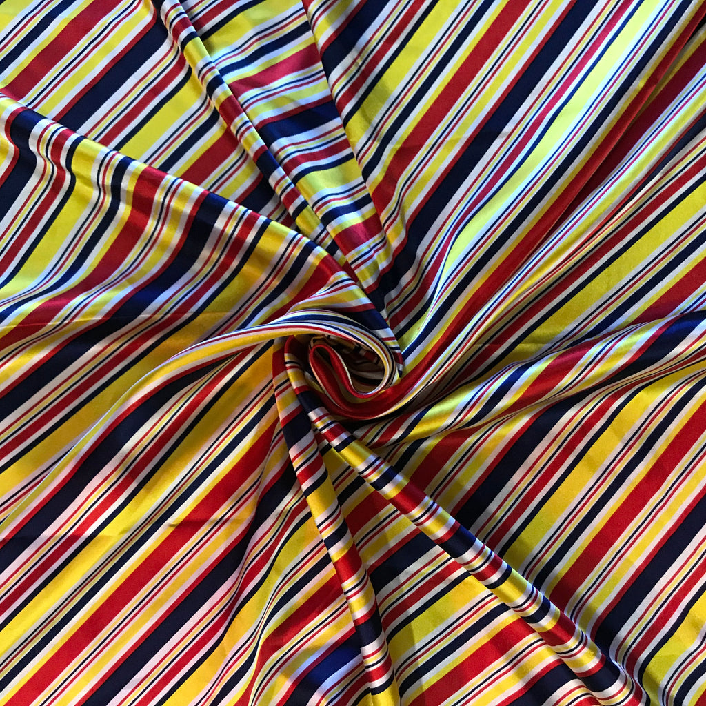 Stripe 1950s vintage style head wrap and scarf. Red, blue, yellow stripes.