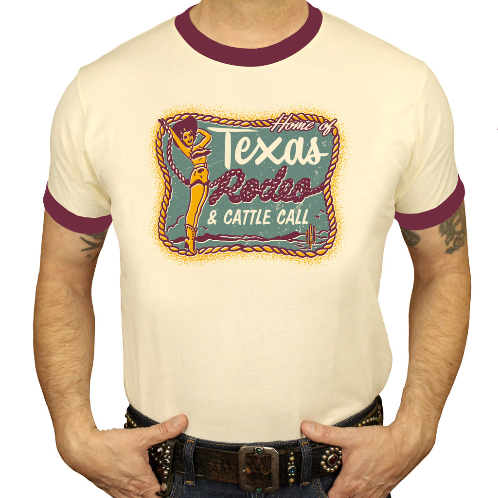 Texas Cattle Call Ringer T-Shirt Men