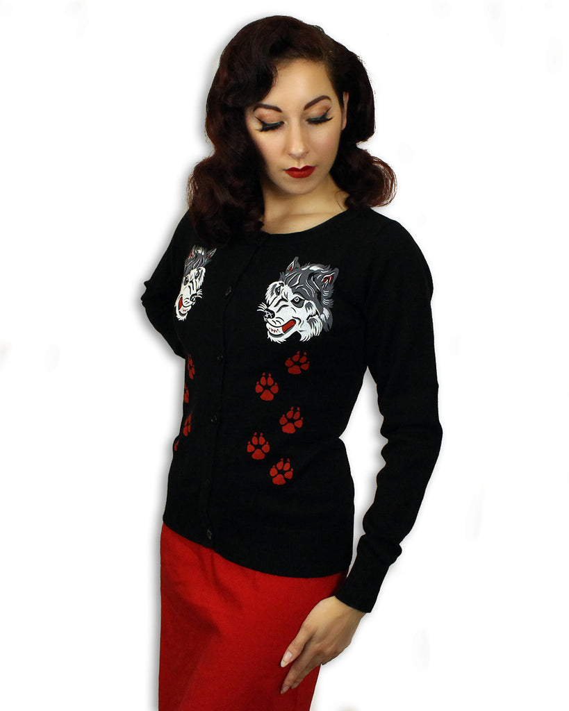 ladies Rockabilly retro cardigan wolves and bloody paws