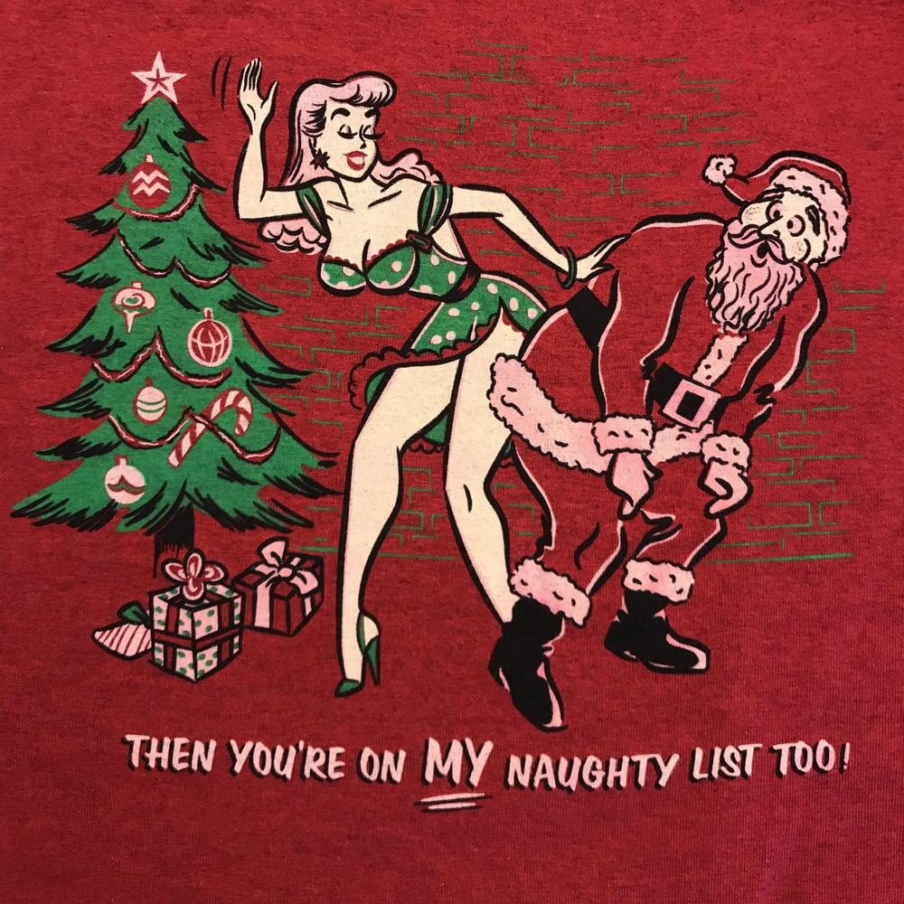 Naughty List Vintage Cherry Red T-shirt. Pinup spanking a naughtly Santa.