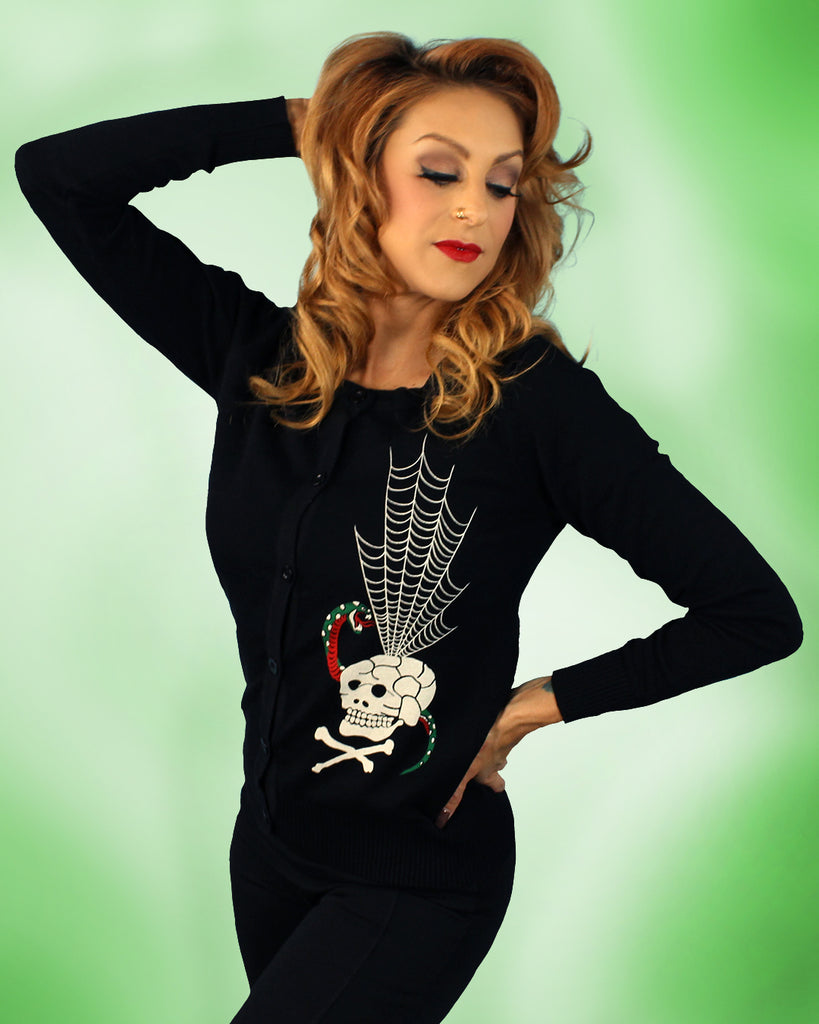 Death Web Souvenir Style Ladies Cardigan