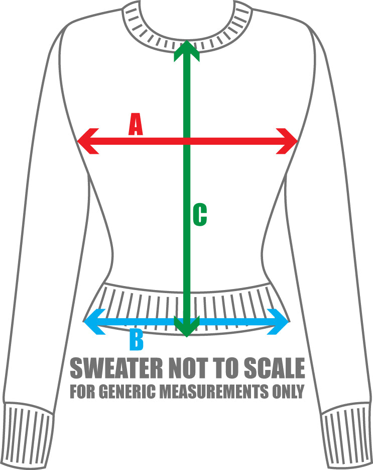 Atomic Knits Ladies Sweater Sizing Chart