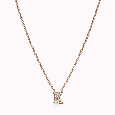 1 Diamond Paved Gothic Initial Necklace Necklace 14K Solid Gold