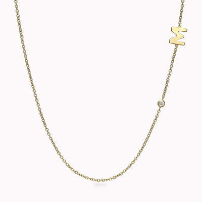 1 Gothic Initial & Gemstone Necklace Necklace 14K Solid Gold