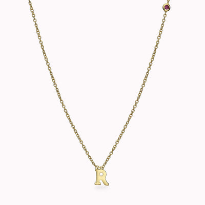 1 Roman Initial and 1 Gemstone Necklace Necklace 14K Solid Gold