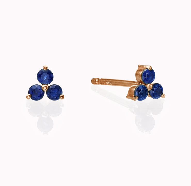 Blue Sapphire Cluster Earrings Earrings Magaljewelrynew 14k Rose Gold