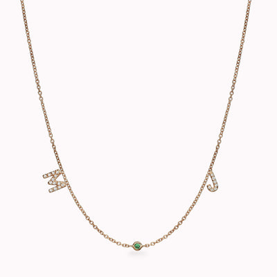 2 Diamond Paved Gothic Initials and 1 Gemstone Necklace Necklace 14K Solid Gold