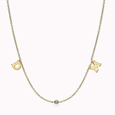 2 Roman Font Initials and 1 Gemstone Necklace Necklace 14K Solid Gold