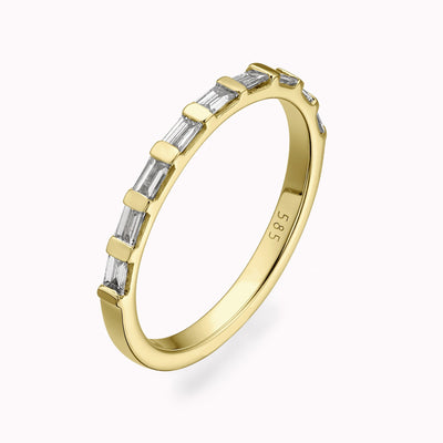 2mm Diamond Baguette Eternity Ring Ring 14K Solid Gold 4 14k Yellow Gold