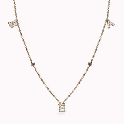 3 Diamond Paved Gothic Initials and 2 Gemstone Necklace Necklace 14K Solid Gold