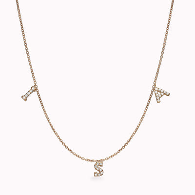 3 Diamond Paved Gothic Initials Necklace Necklace 14K Solid Gold