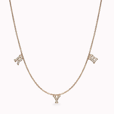 3 Diamond Paved Roman Initials Necklace Necklace 14K Solid Gold