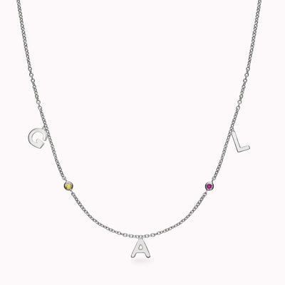 3 Gothic Initials and 2 Gemstones Necklace Necklace 14K Solid Gold