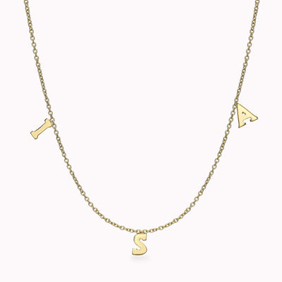 3 Roman Initials Necklace Necklace 14K Solid Gold