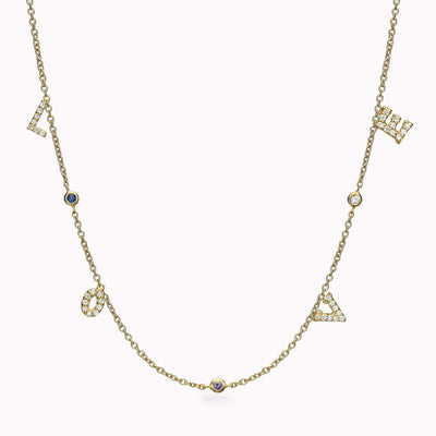 4 Diamond Paved Gothic Initials and 3 Gemstones Necklace Necklace 14K Solid Gold