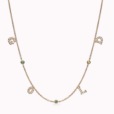 4 Diamond Paved Roman Initials and 3 Gemstones Necklace Necklace 14K Solid Gold