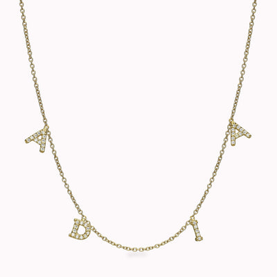 4 Diamond Paved Roman Initials Necklace Necklace 14K Solid Gold